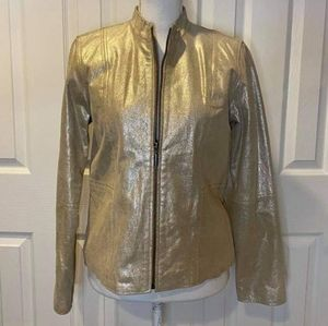 Brandon Thomas Shimmer Sparkle Tan Leather Jacket